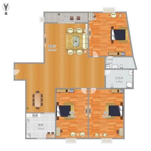 金沙雅苑四期3室1厅2卫1厨170.00㎡户型图