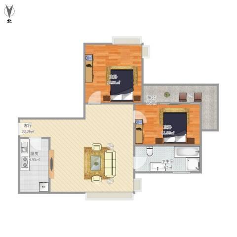金沙雅苑四期2室1厅1卫1厨110.00㎡户型图