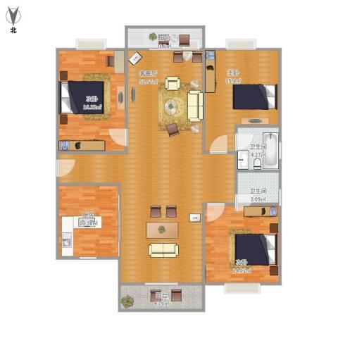 金沙雅苑四期3室1厅2卫1厨166.00㎡户型图