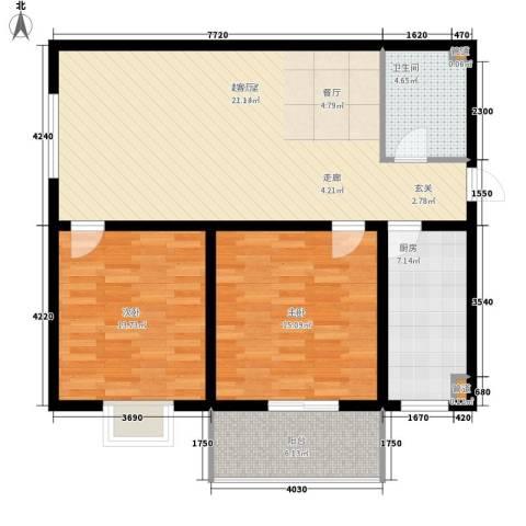 长延居会展明珠2室0厅1卫1厨90.00㎡户型图