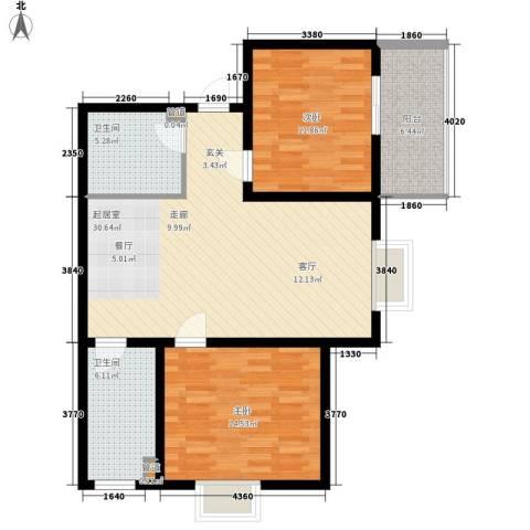 长延居会展明珠2室0厅2卫0厨85.00㎡户型图