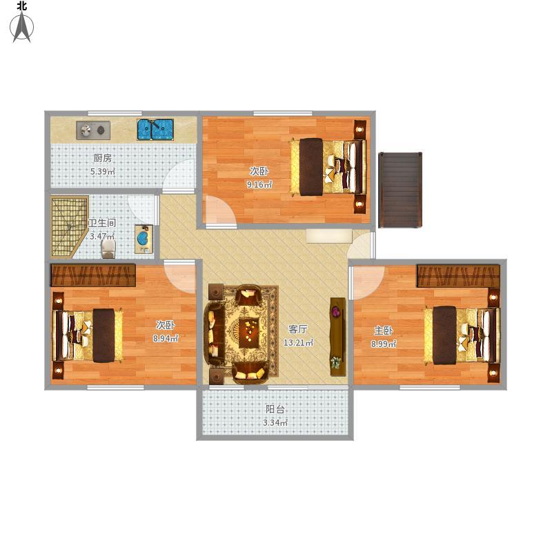 78平三房户型