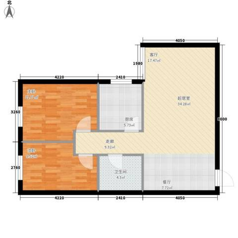 尚品格蓝2室0厅1卫1厨72.00㎡户型图