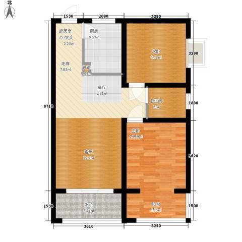 太白花园2室0厅1卫1厨86.00㎡户型图