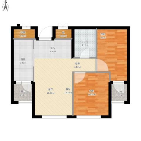 康馨壹品2室1厅1卫1厨65.00㎡户型图