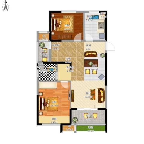 天正理想城2室1厅1卫1厨106.00㎡户型图