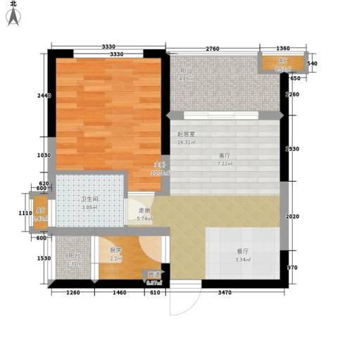 房地局家属院1室0厅1卫1厨58.00㎡户型图