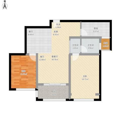 雅戈尔太阳城缘邑2室1厅2卫1厨110.00㎡户型图