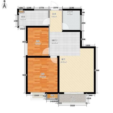 高科尚都2室1厅1卫1厨97.00㎡户型图