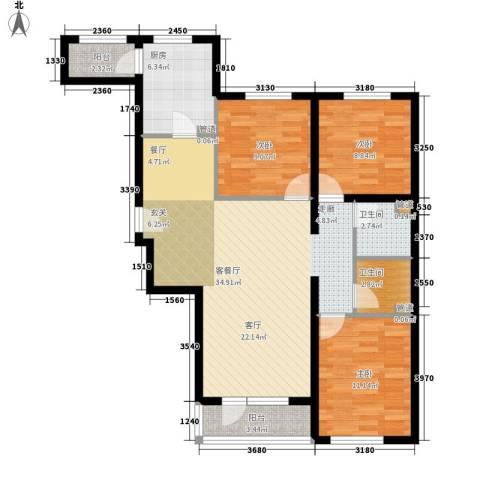 神宇国际3室1厅2卫1厨117.00㎡户型图