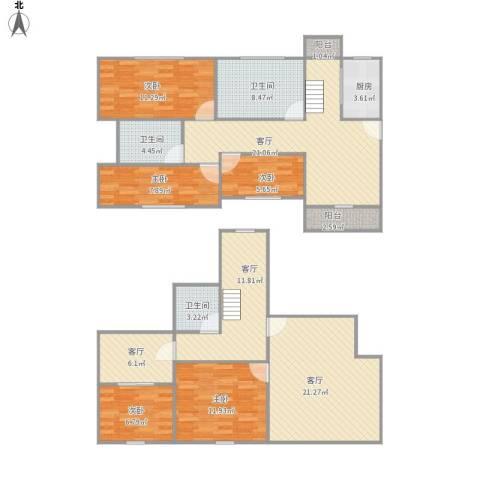 玉乐小区别墅5室4厅3卫1厨173.00㎡户型图