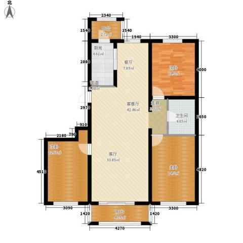 凯帝斯广场3室1厅1卫1厨139.00㎡户型图