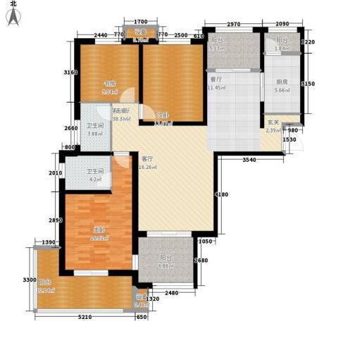 高科尚都3室1厅2卫1厨162.00㎡户型图