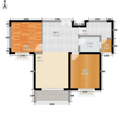 美都香域2室1厅1卫1厨90.00㎡户型图