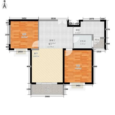 美都香域2室1厅1卫1厨91.00㎡户型图