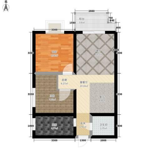 万华园丽景华都2室1厅1卫1厨81.00㎡户型图