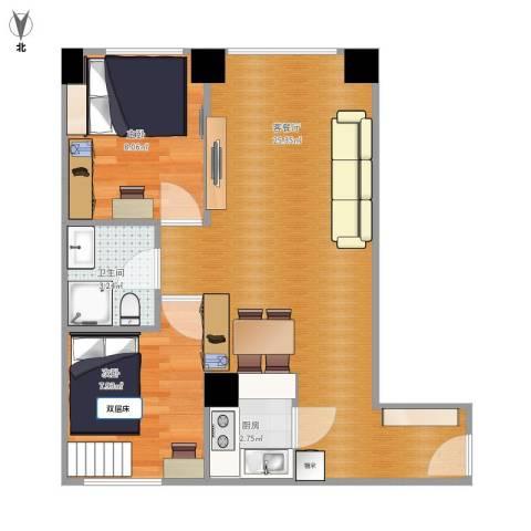两江慧谷2室1厅1卫1厨66.00㎡户型图