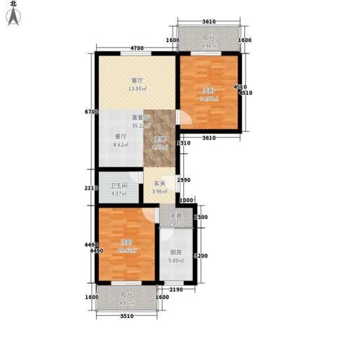 安驰国际2室1厅1卫1厨120.00㎡户型图
