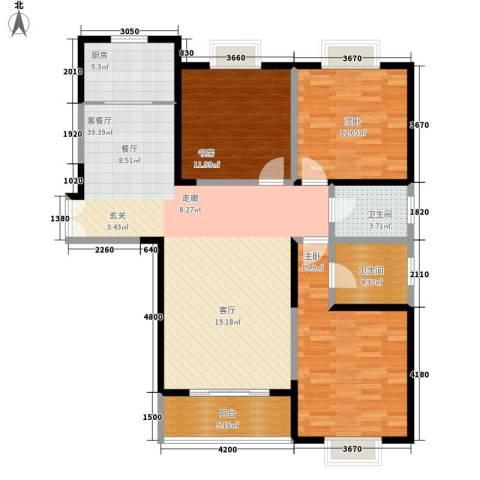 美都香域3室1厅2卫1厨127.00㎡户型图