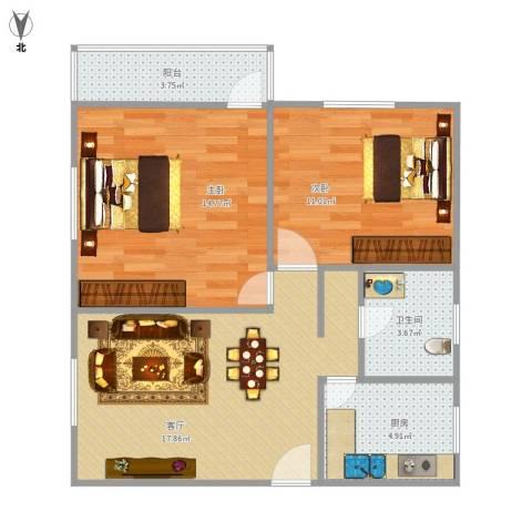 莲坂西小区2室1厅1卫1厨76.00㎡户型图