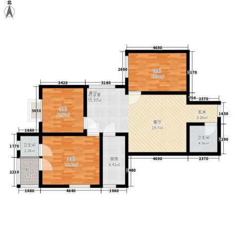 长延居会展明珠3室0厅2卫1厨103.00㎡户型图