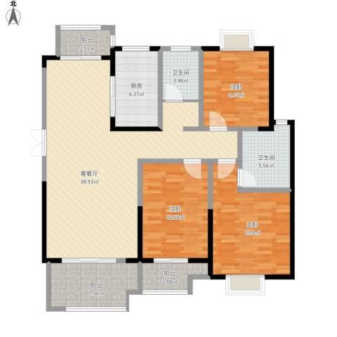 蓝鼎海棠湾3室1厅2卫1厨145.00㎡户型图