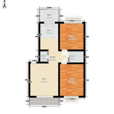 宏林名苑2室0厅2卫1厨98.00㎡户型图