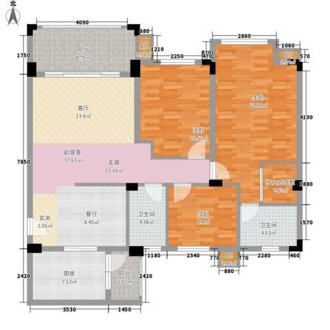南沙碧桂园3室0厅2卫1厨158.00㎡户型图
