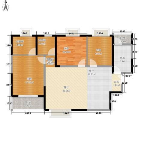 美都香域3室1厅2卫1厨114.00㎡户型图