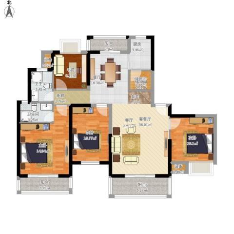汉南天地4室1厅2卫1厨148.00㎡户型图