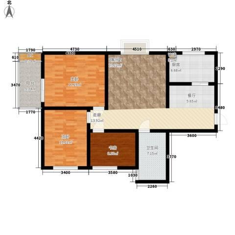 长延居会展明珠3室0厅1卫1厨109.00㎡户型图