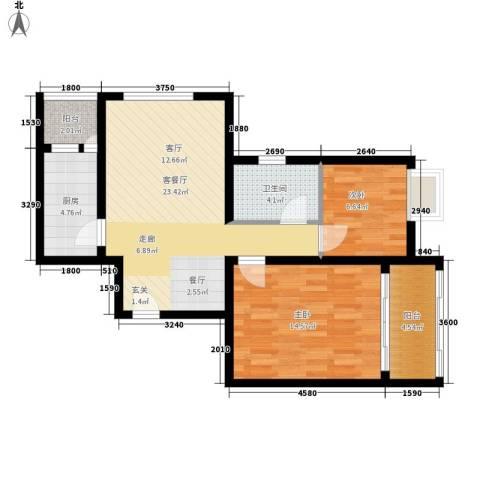 水半湾2室1厅1卫1厨85.00㎡户型图