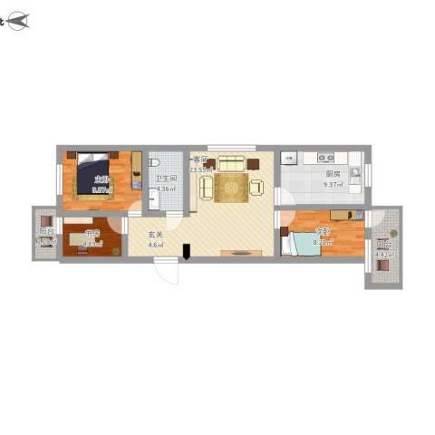 海子角西里3室1厅1卫1厨100.00㎡户型图