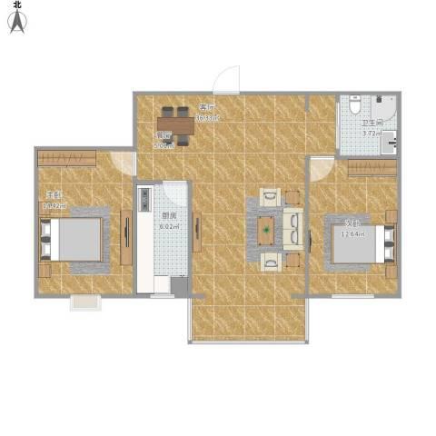 碧水云天颐园2室1厅1卫1厨97.00㎡户型图