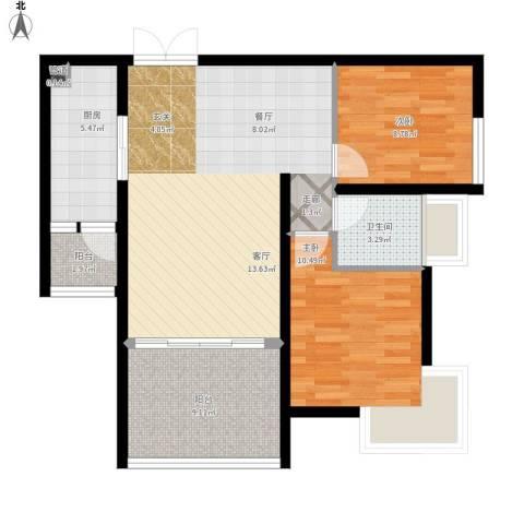 富中蝴蝶谷2室1厅1卫1厨95.00㎡户型图
