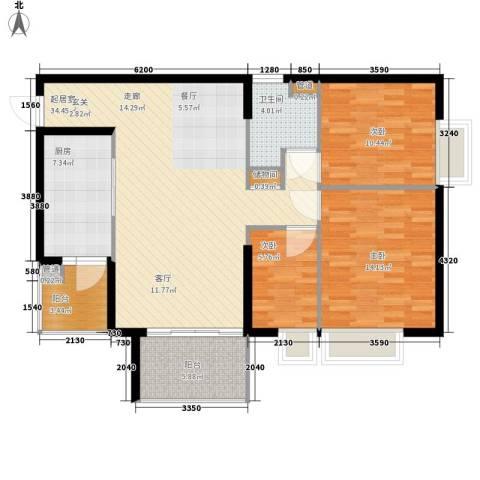 美林海岸花园3室0厅1卫1厨97.00㎡户型图