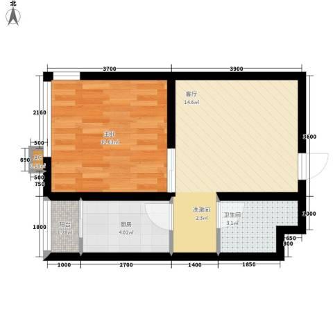 北方尚品1室1厅1卫1厨51.00㎡户型图
