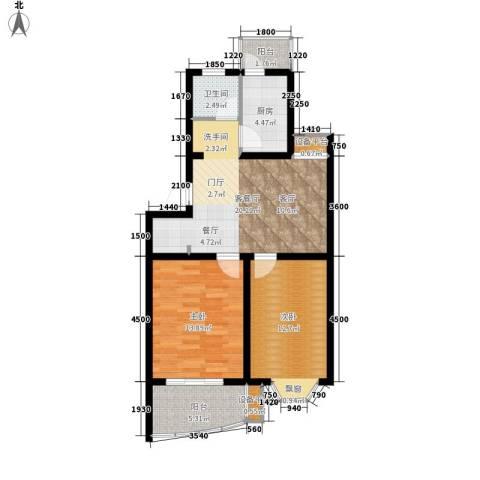 良城美景2室1厅1卫1厨90.00㎡户型图