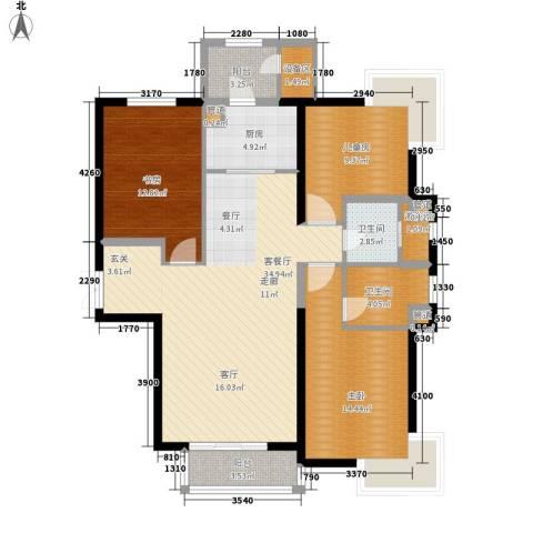 梧桐大道3室1厅2卫1厨140.00㎡户型图