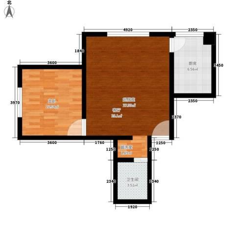 东港龙城1室0厅1卫1厨58.00㎡户型图