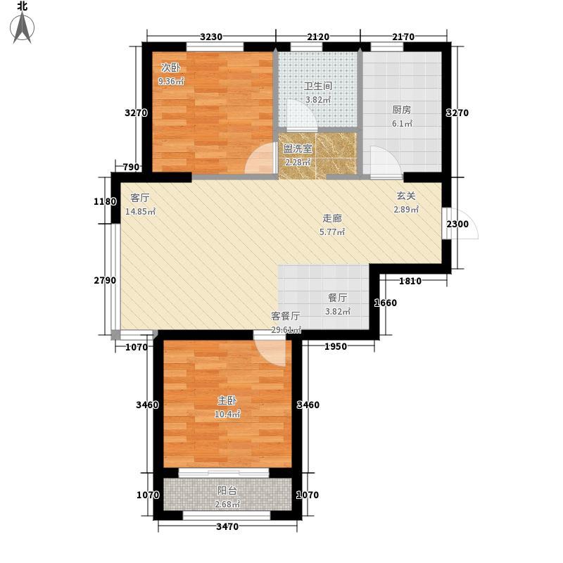 鹿港小镇70.00㎡户型2室2厅