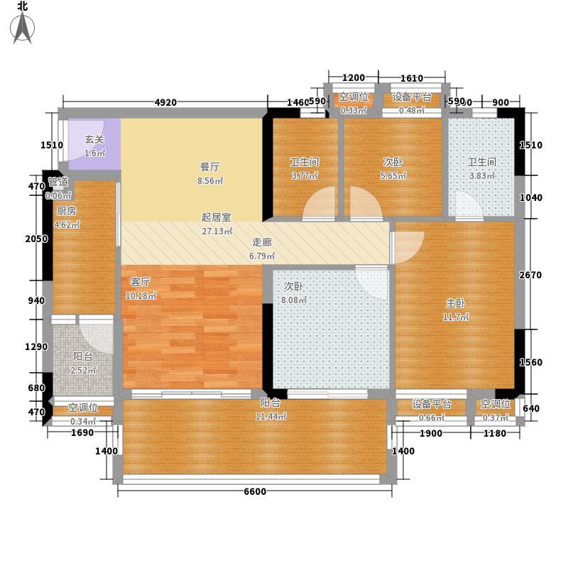 岭南雅筑95.00㎡1/2/3栋06单元户型3室2厅