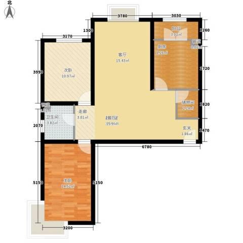 海澳公馆2室0厅1卫1厨107.00㎡户型图