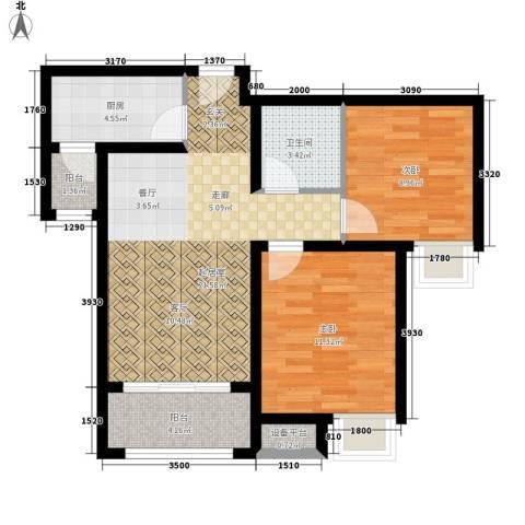 万达广场2室0厅1卫1厨82.00㎡户型图