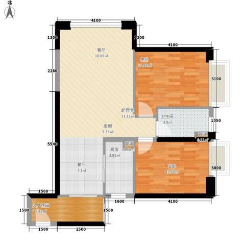 东方希望天祥广场天荟2室0厅1卫1厨90.00㎡户型图