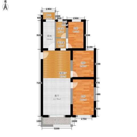 丽馨园3室1厅1卫1厨75.00㎡户型图