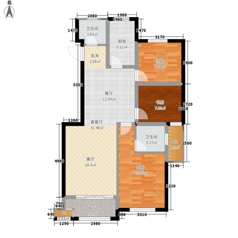 汇宇和庭90.00㎡D户型3室1厅2卫