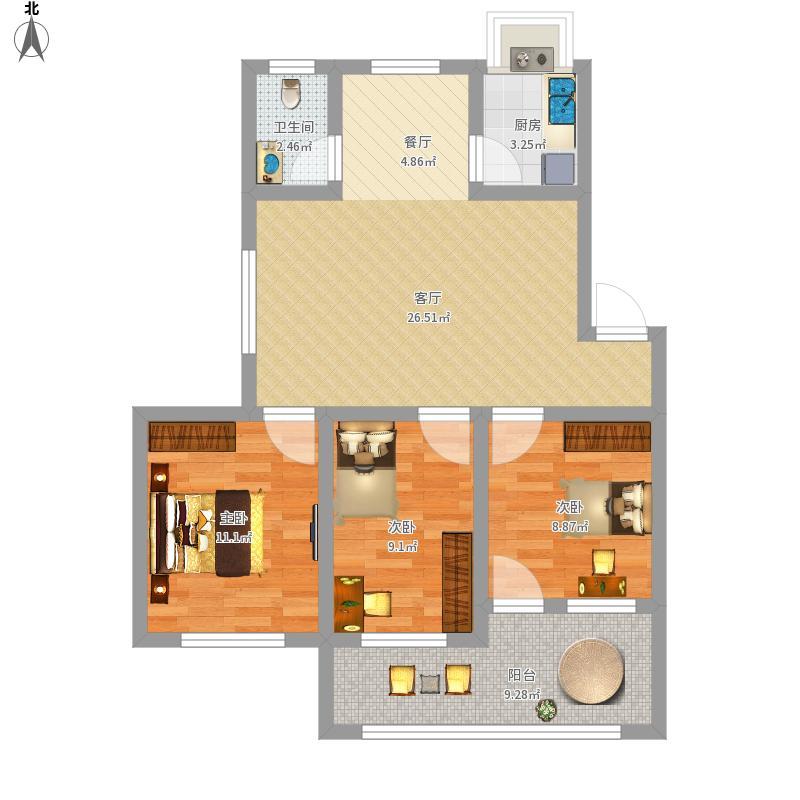 磷化小区85方户型三室两厅