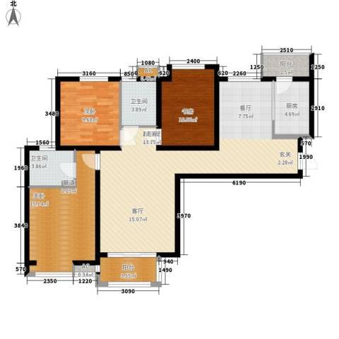 宏林名苑3室0厅2卫1厨127.00㎡户型图