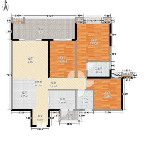 光大花园榕岸3室0厅2卫1厨122.00㎡户型图